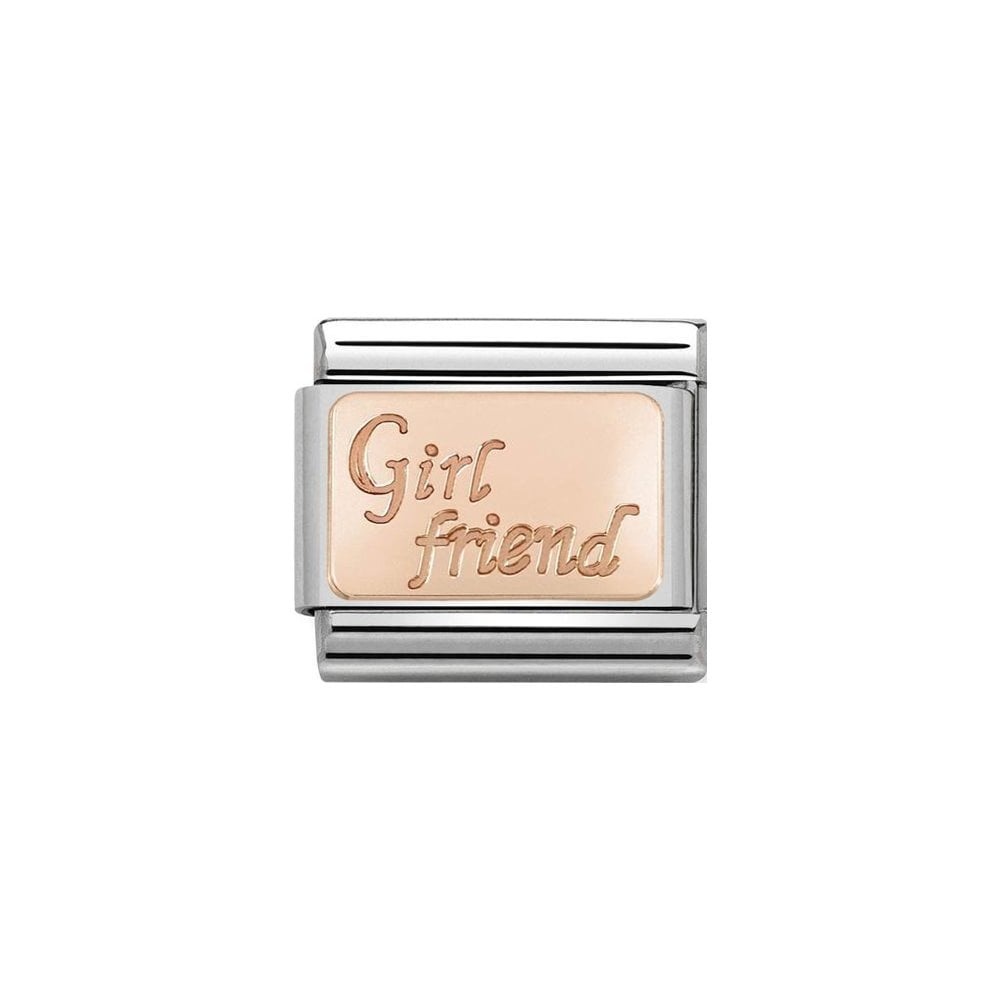Nomination Classic Rose Gold Girlfriend Plate Charm - S&S Argento