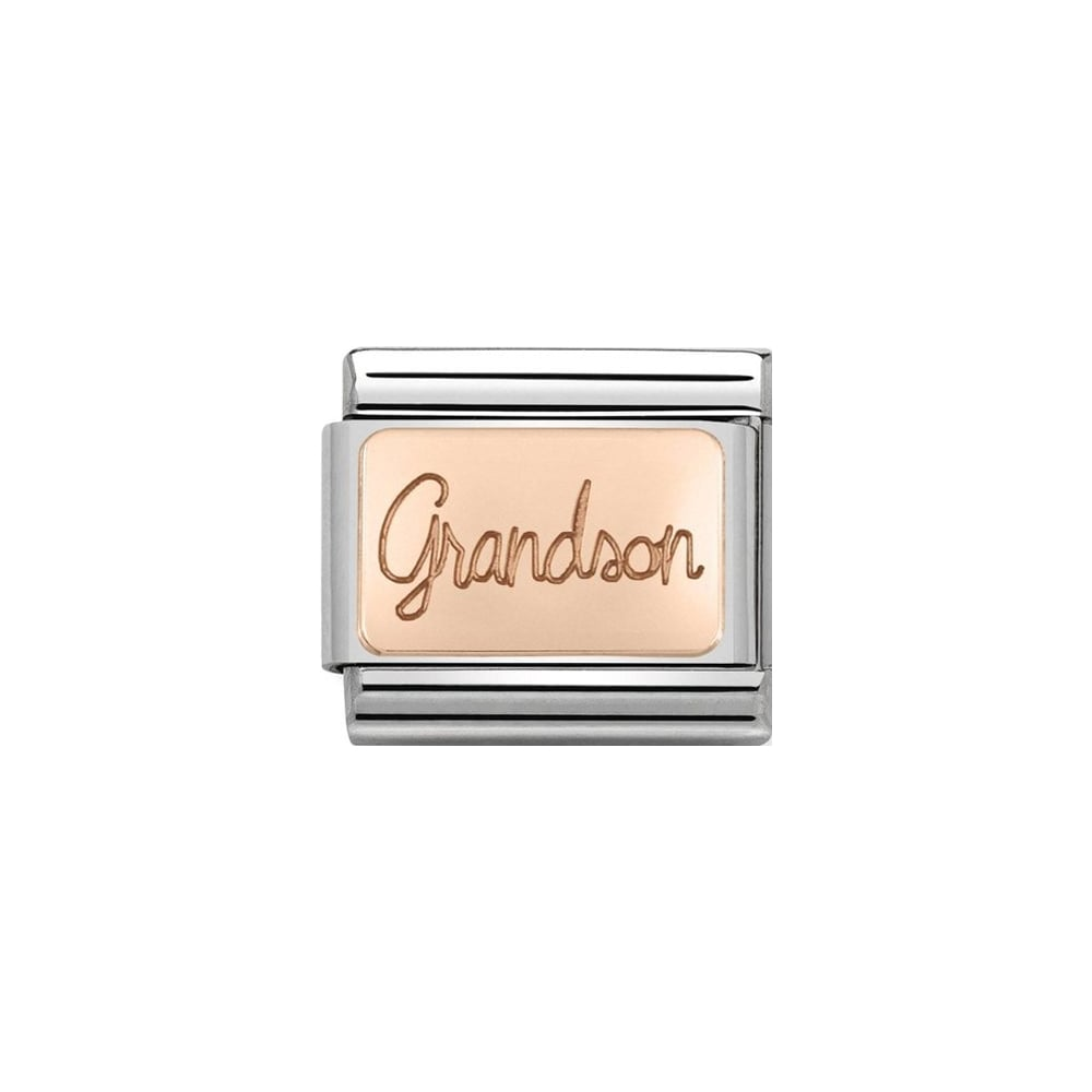 Nomination Classic Rose Gold Grandson Plate Charm - S&S Argento