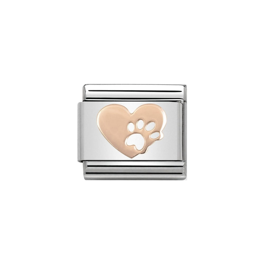 Nomination Classic Rose Gold Heart with Footprints Paw Charm - S&S Argento