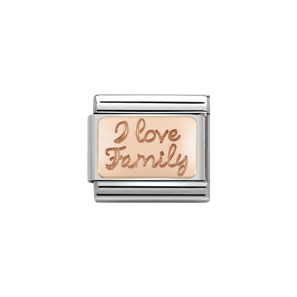 Nomination Classic Rose Gold I Love Family Plate Charm - S&S Argento