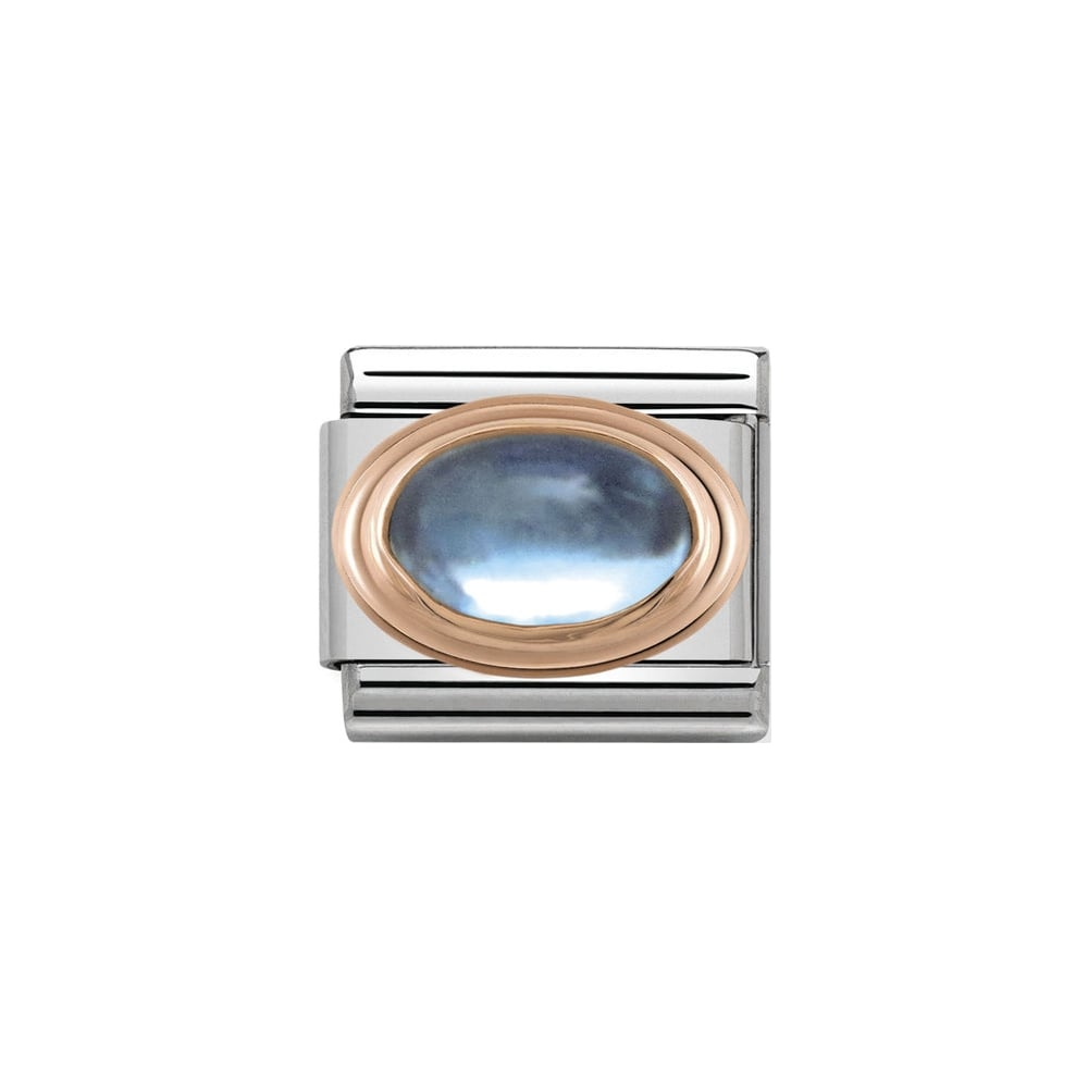Nomination Classic Rose Gold Light Blue Topaz Charm