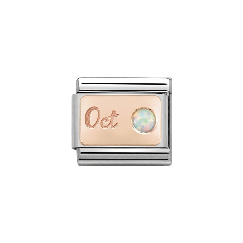 Nomination Classic Rose Gold October White Opal Charm - S&S Argento