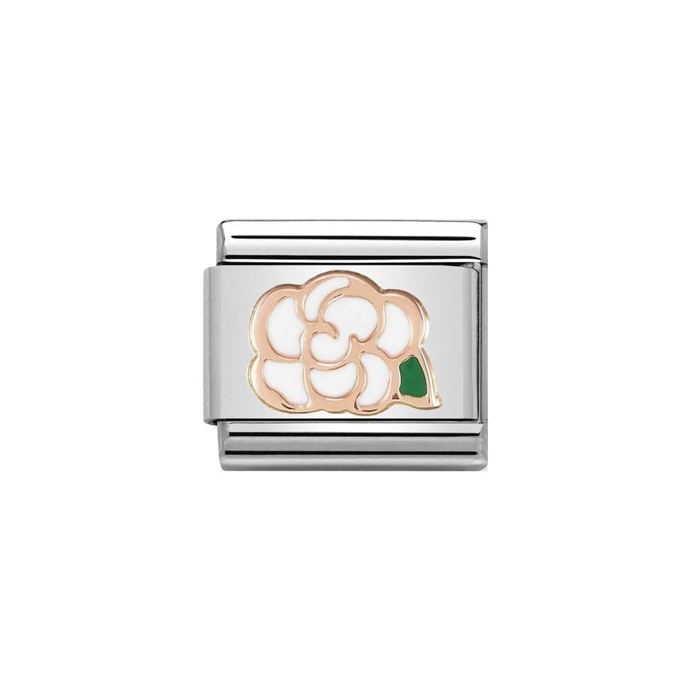 Nomination Classic Rose Gold & White Camellia Charm - S&S Argento