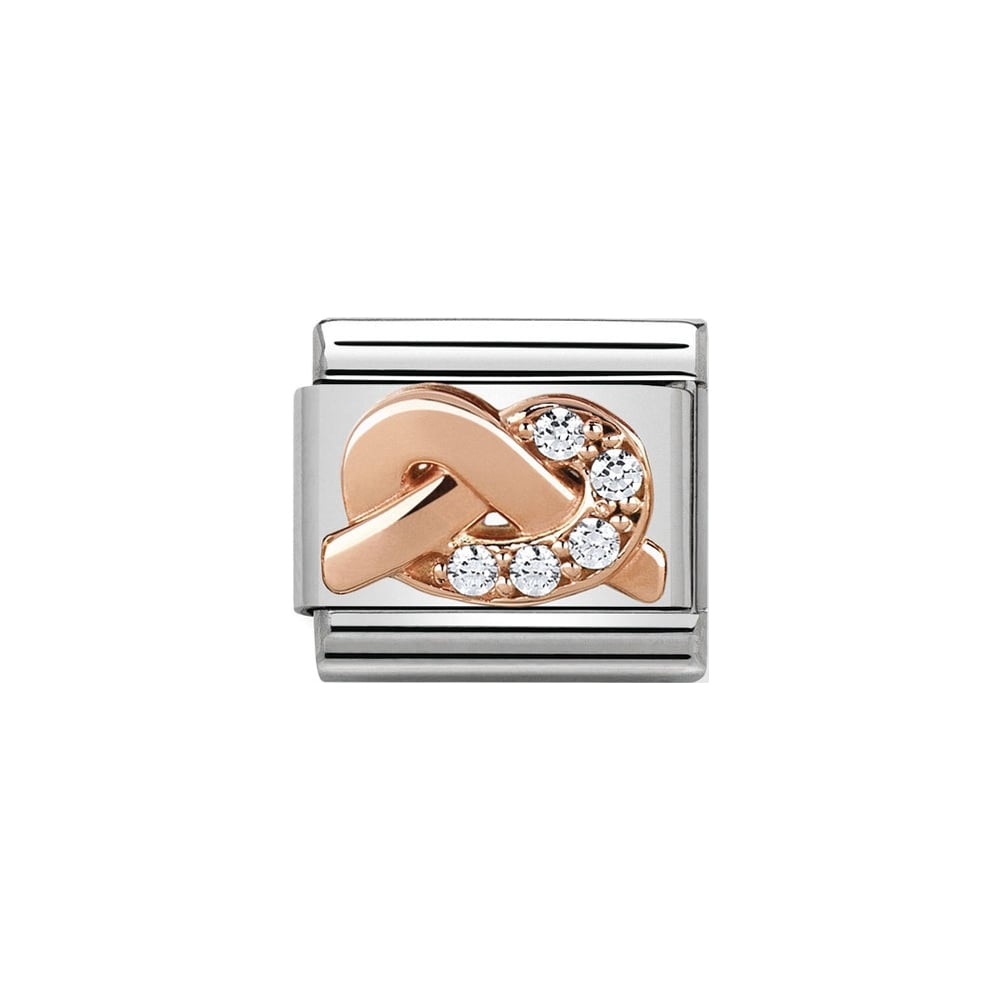 Nomination Classic Rose Gold & White CZ SPIRITUALITY Knot Charm - S&S Argento