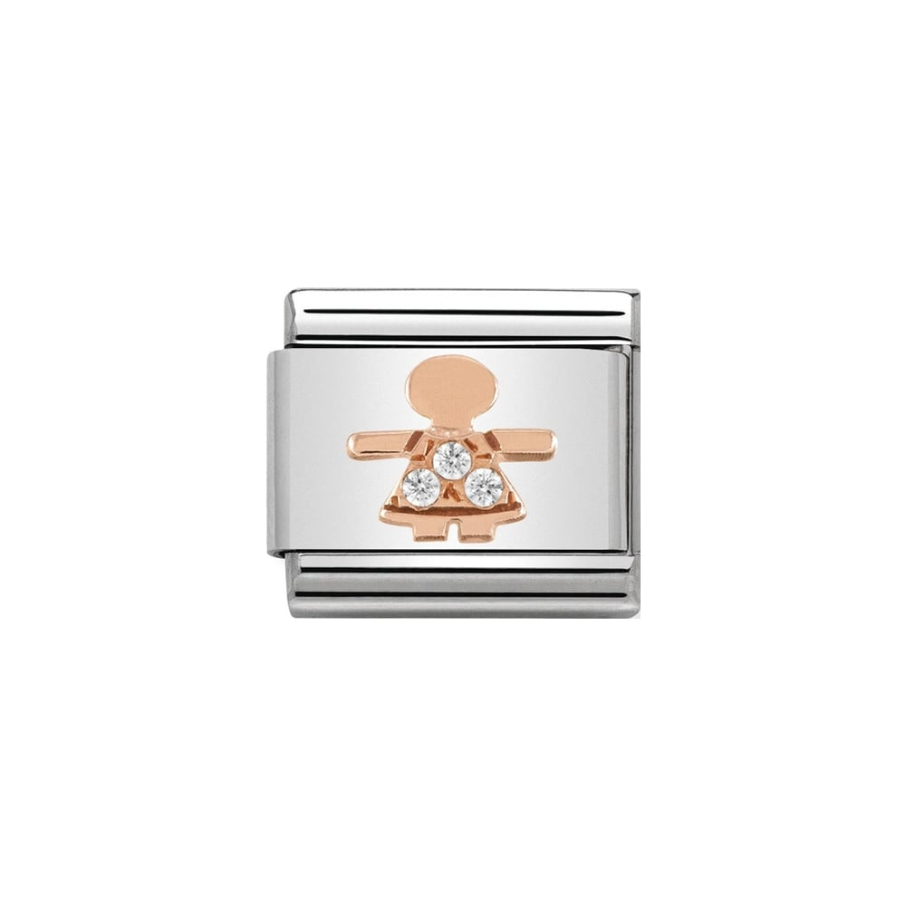 Nomination Classic Rose Gold & White CZ Little Girl Charm - S&S Argento