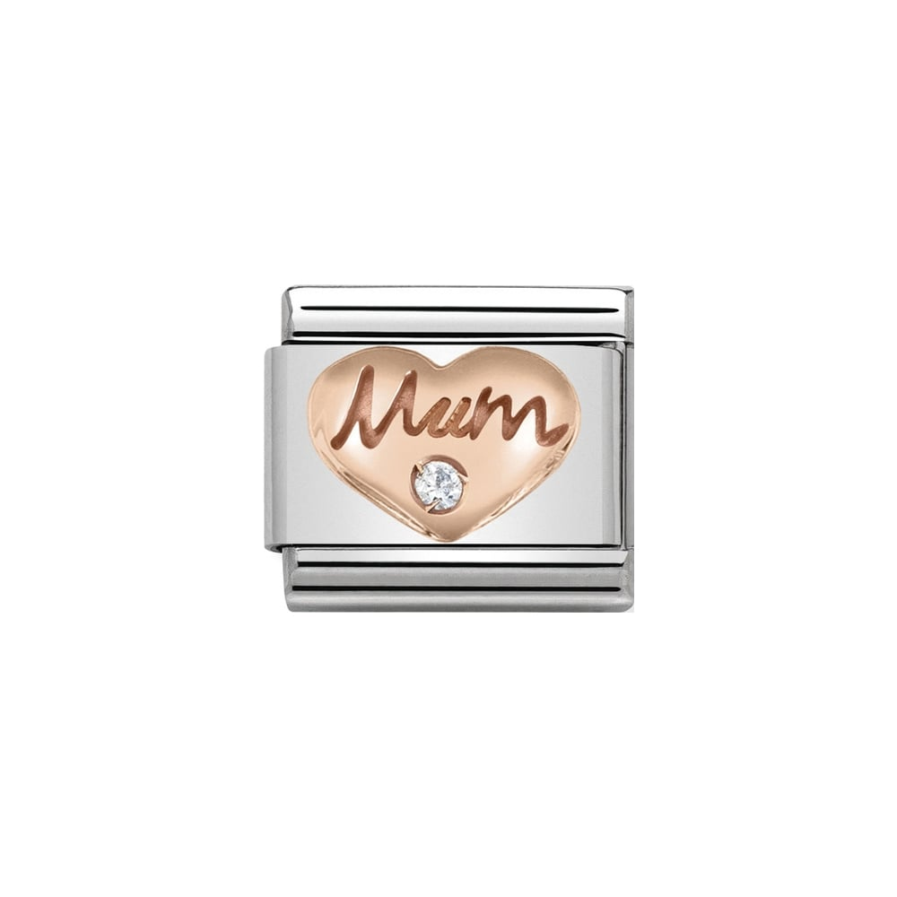 Nomination Classic Rose Gold & White CZ Mum Heart Charm - S&S Argento