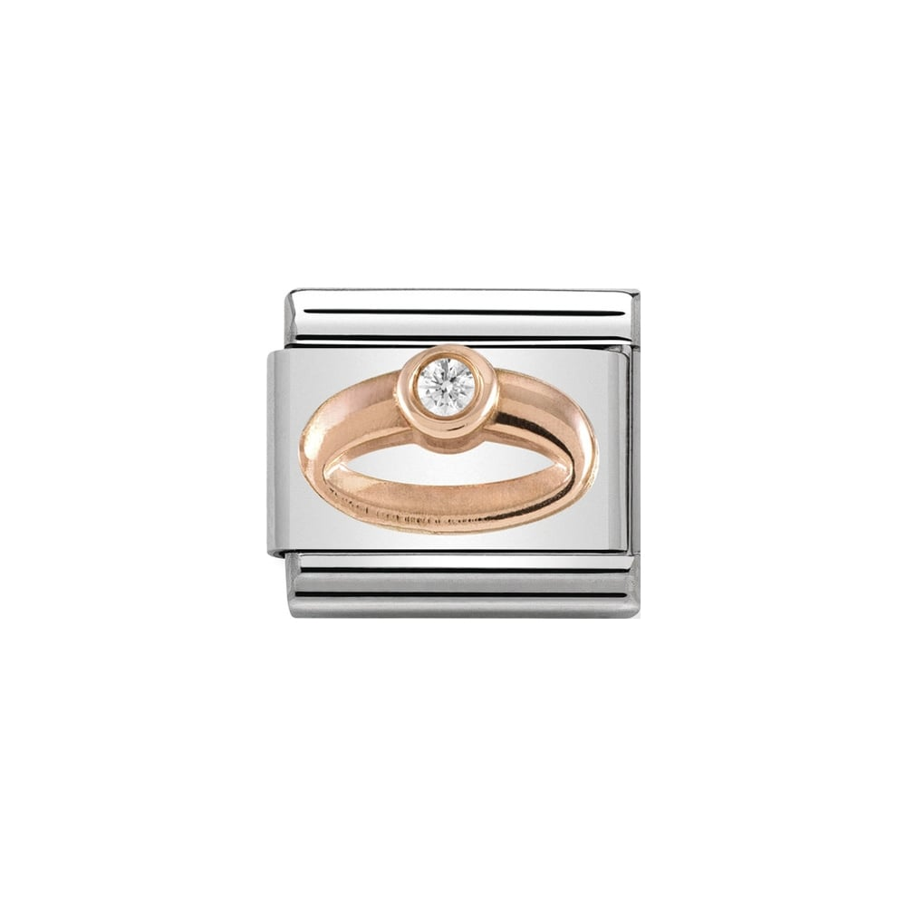 Nomination Classic Rose Gold & White CZ Ring Charm - S&S Argento