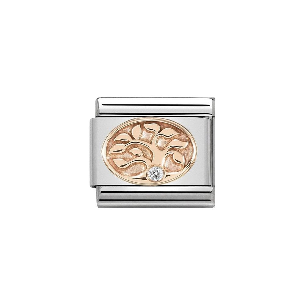 Nomination Classic Rose Gold & White CZ Tree of Life Charm - S&S Argento