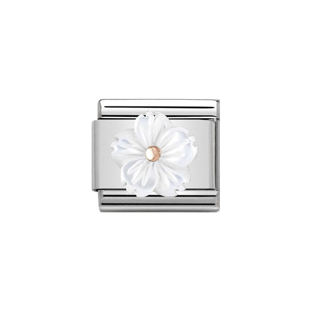Nomination Classic Rose Gold 3D White Mother of Pearl Flower Charm - S&S Argento