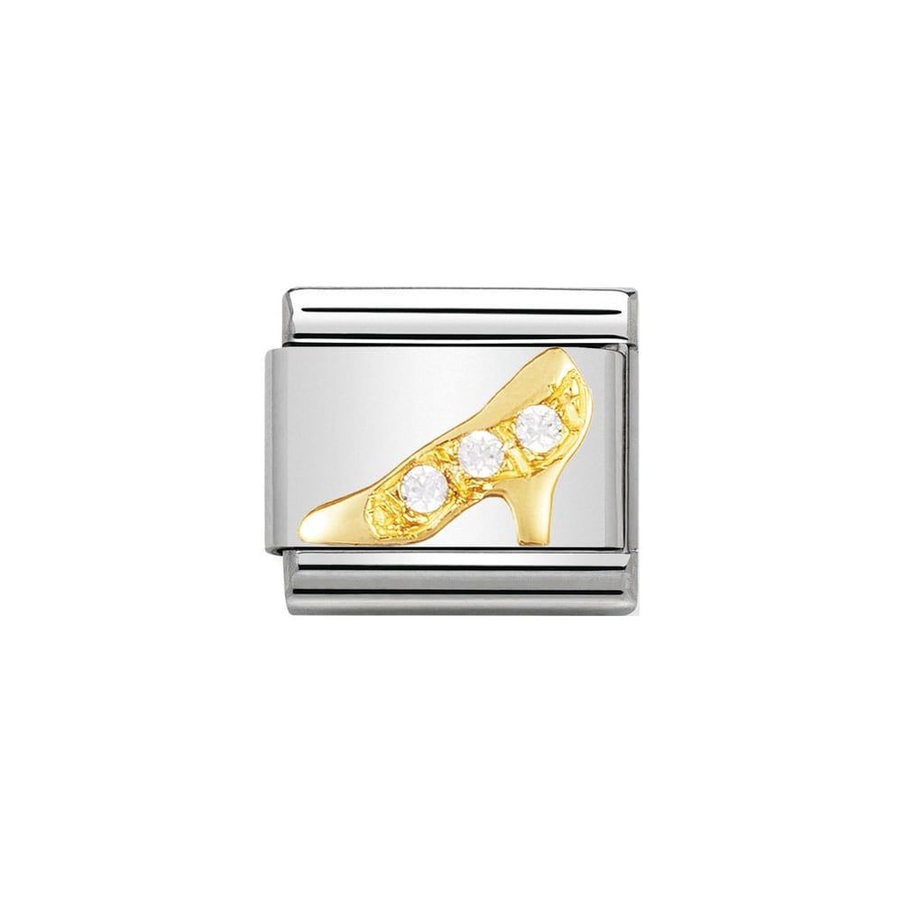 Nomination Classic Gold White High Heel (Shoe) Cubic Zirconia Charm - S&S Argento