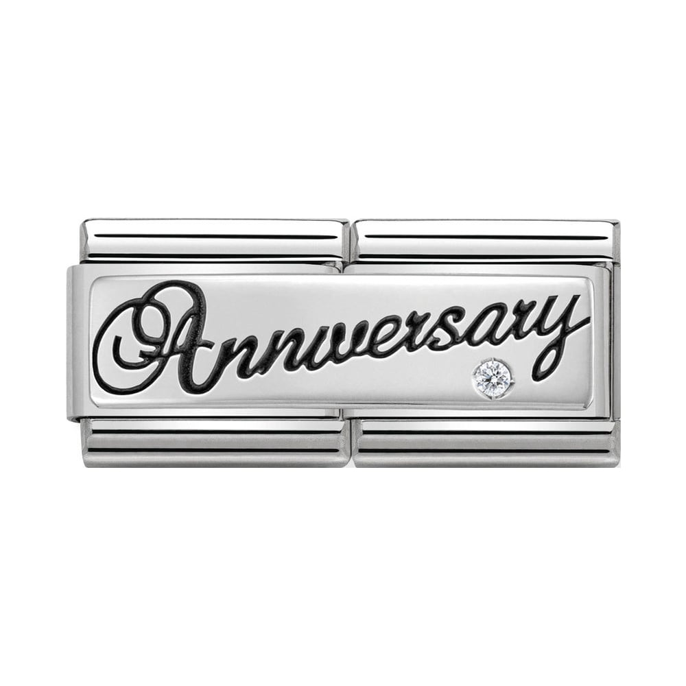 Nomination Classic Silver & CZ Anniversary Double Charm