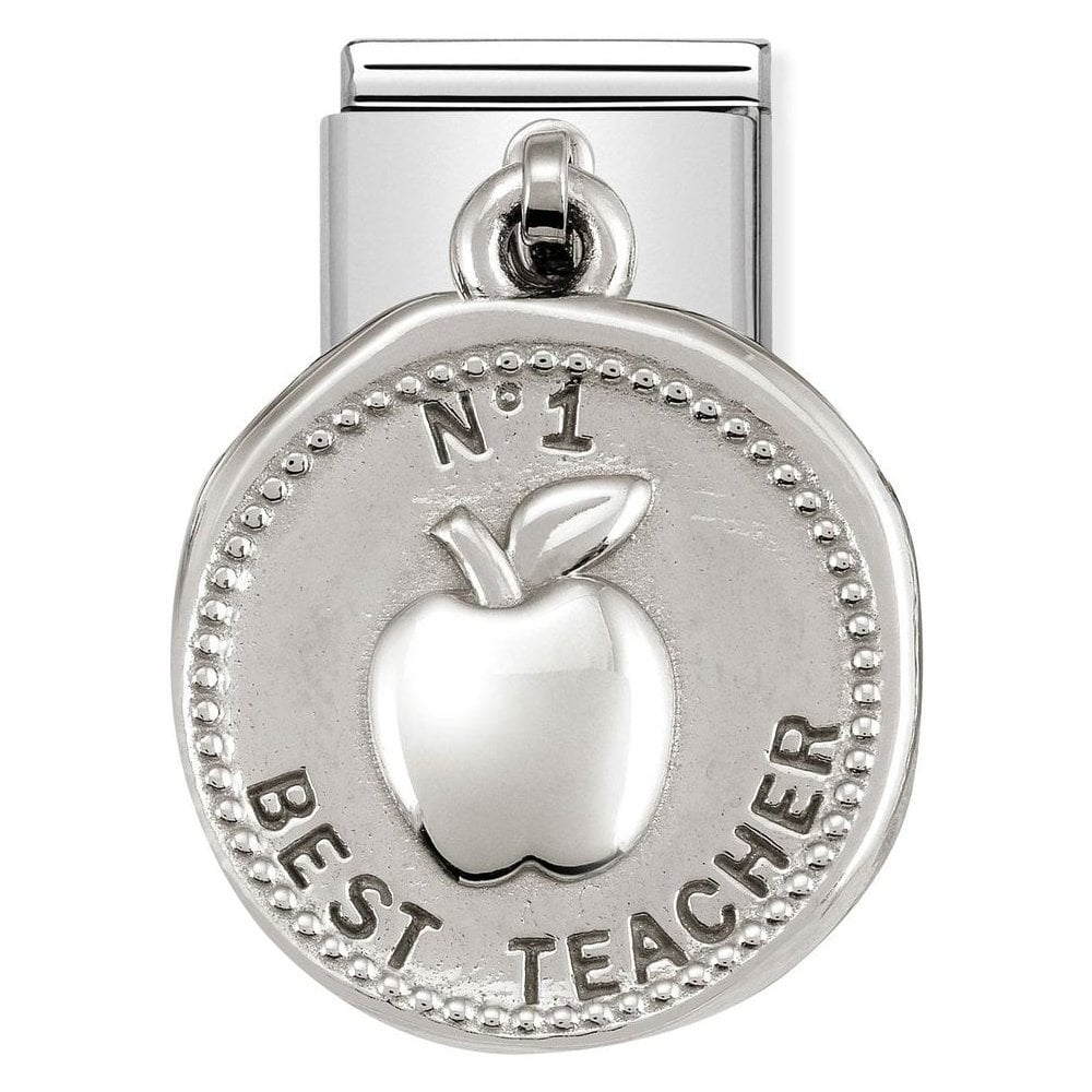 Nomination Classic Silver Best Teacher Wishes Drop Coin Charm