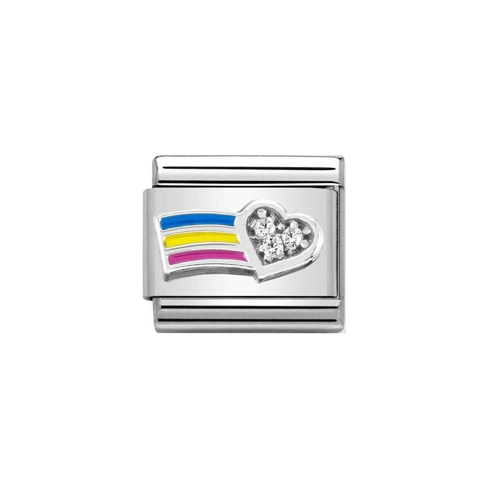 Nomination Classic Silver CZ Rainbow Heart