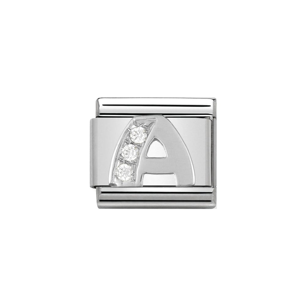 Nomination Classic Silver & CZ Letter A Charm - S&S Argento