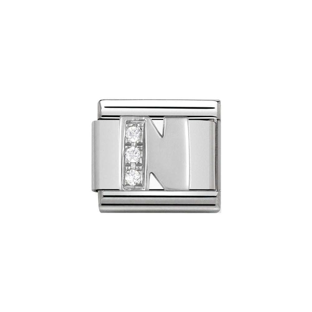 Nomination Classic Silver & CZ Letter N Charm - S&S Argento