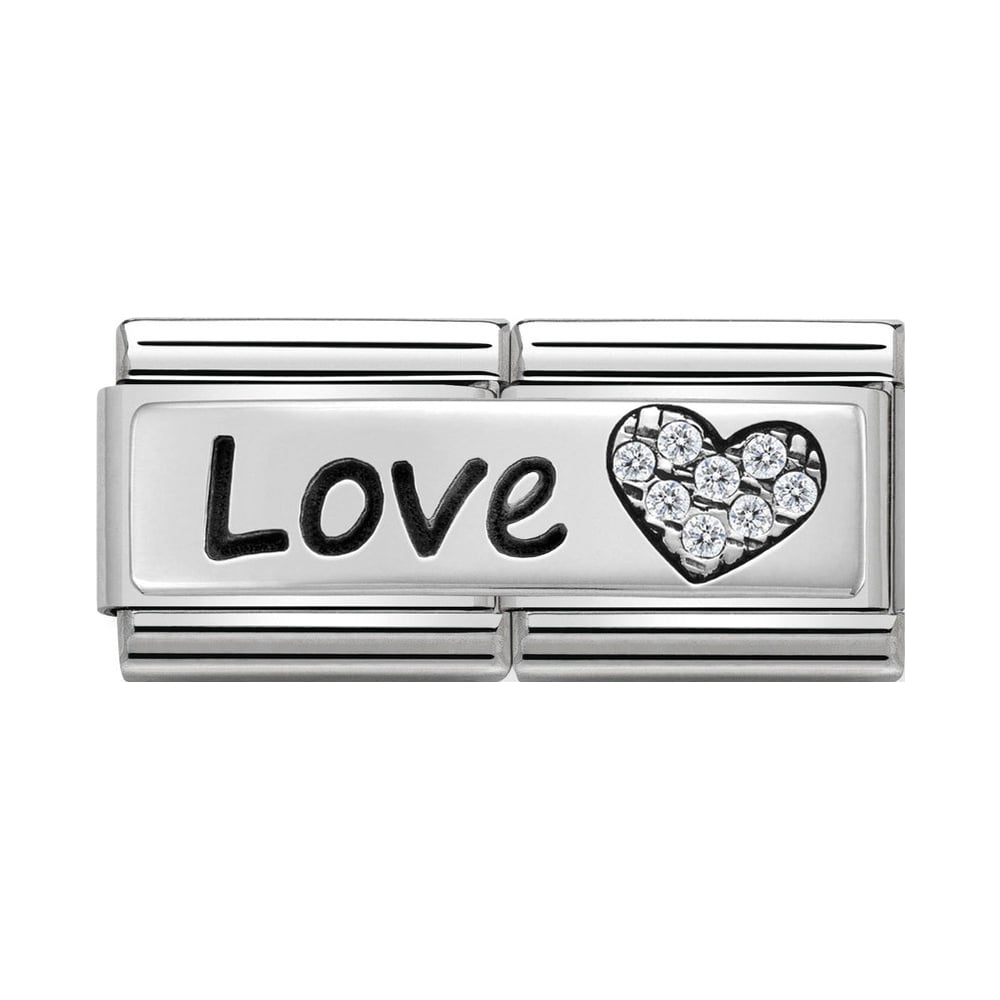 Nomination Classic Silver & CZ Love Heart Double Charm - S&S Argento
