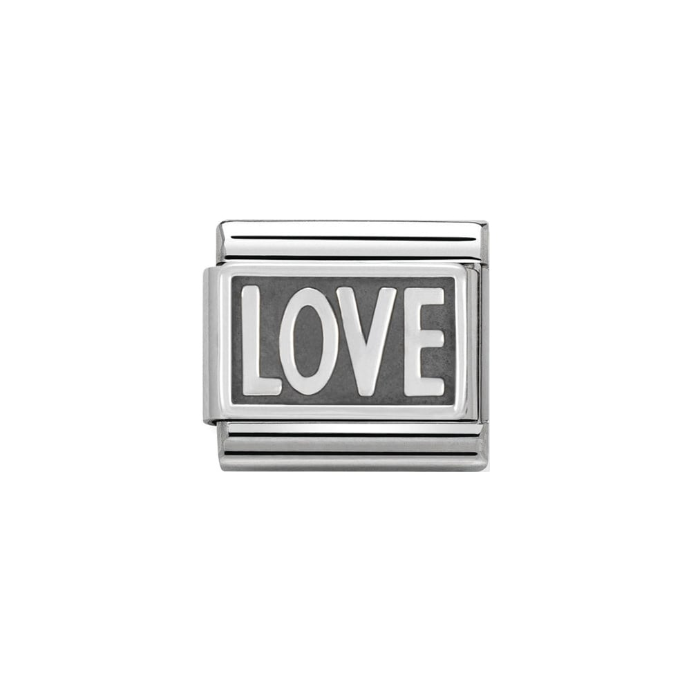 Nomination Classic Silver Oxidized Love Plate Charm - S&S Argento
