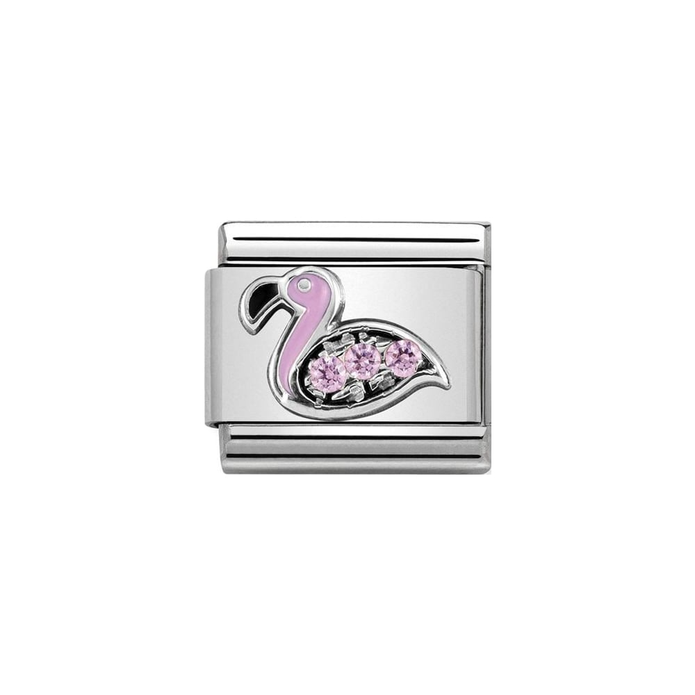Nomination Classic Silver & Pink CZ Flamingo Charm - S&S Argento