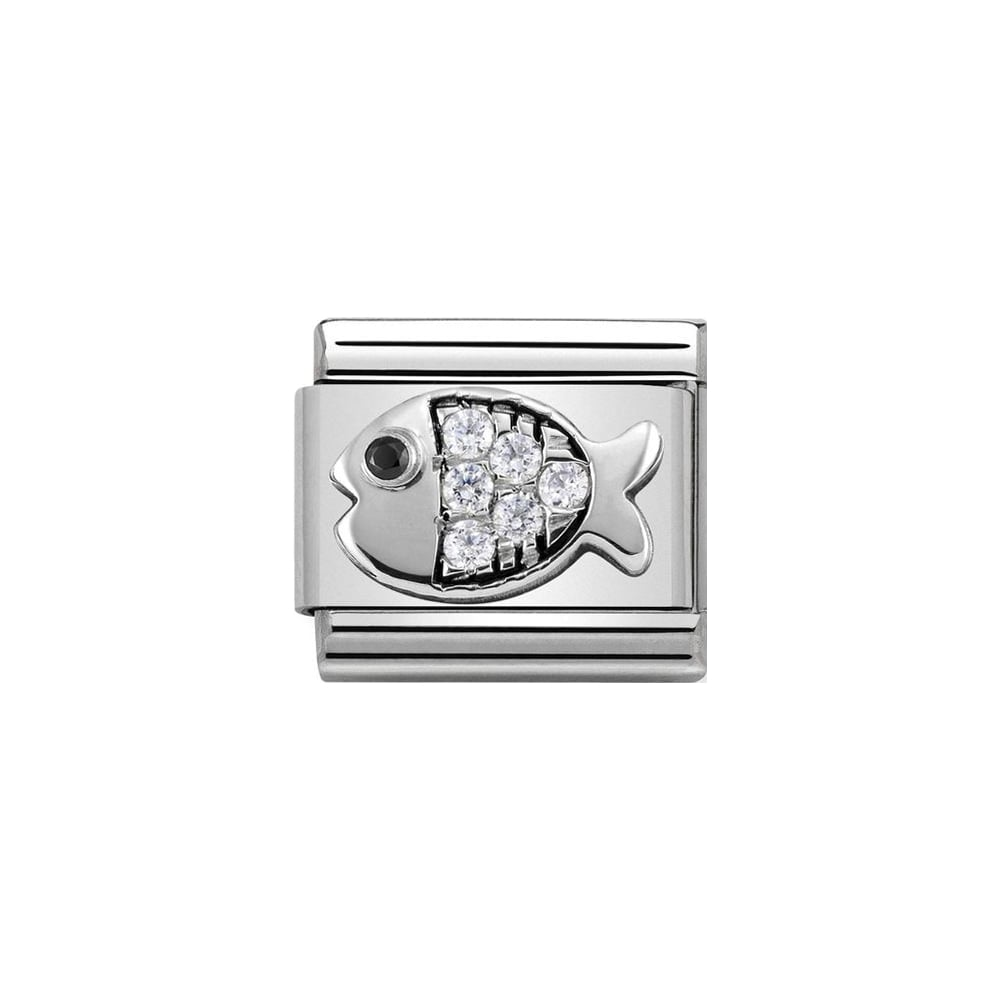 Nomination Classic Silver & White CZ Fish Charm - S&S Argento