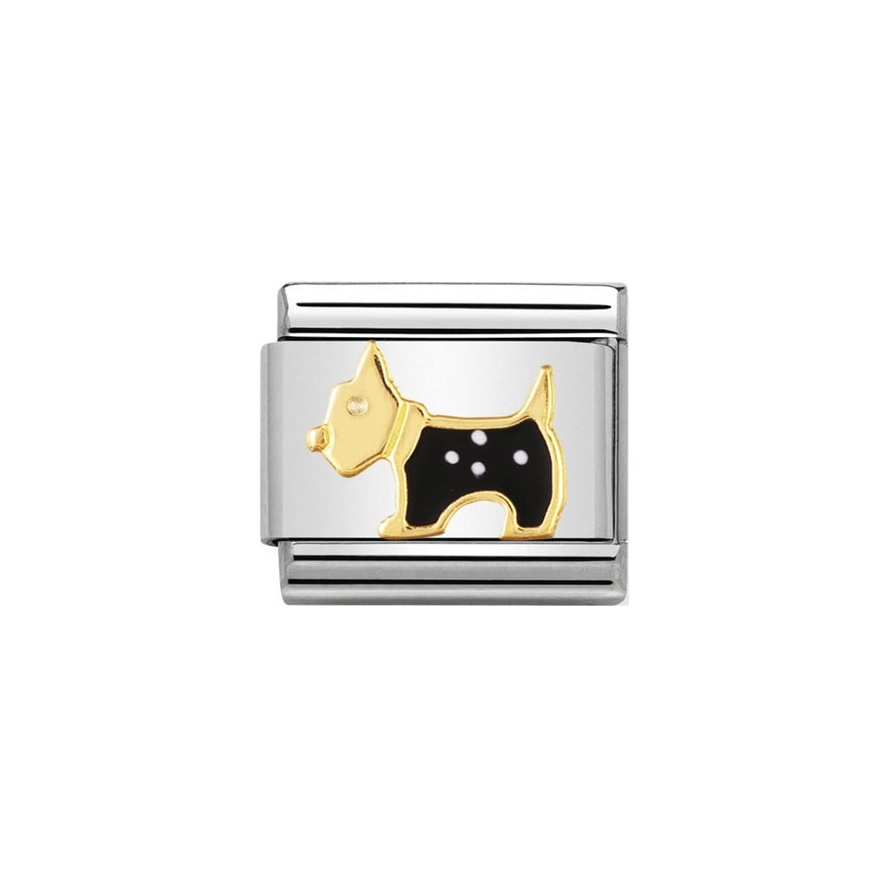 Nomination Classic Black & White Terrier Dog Charm - S&S Argento