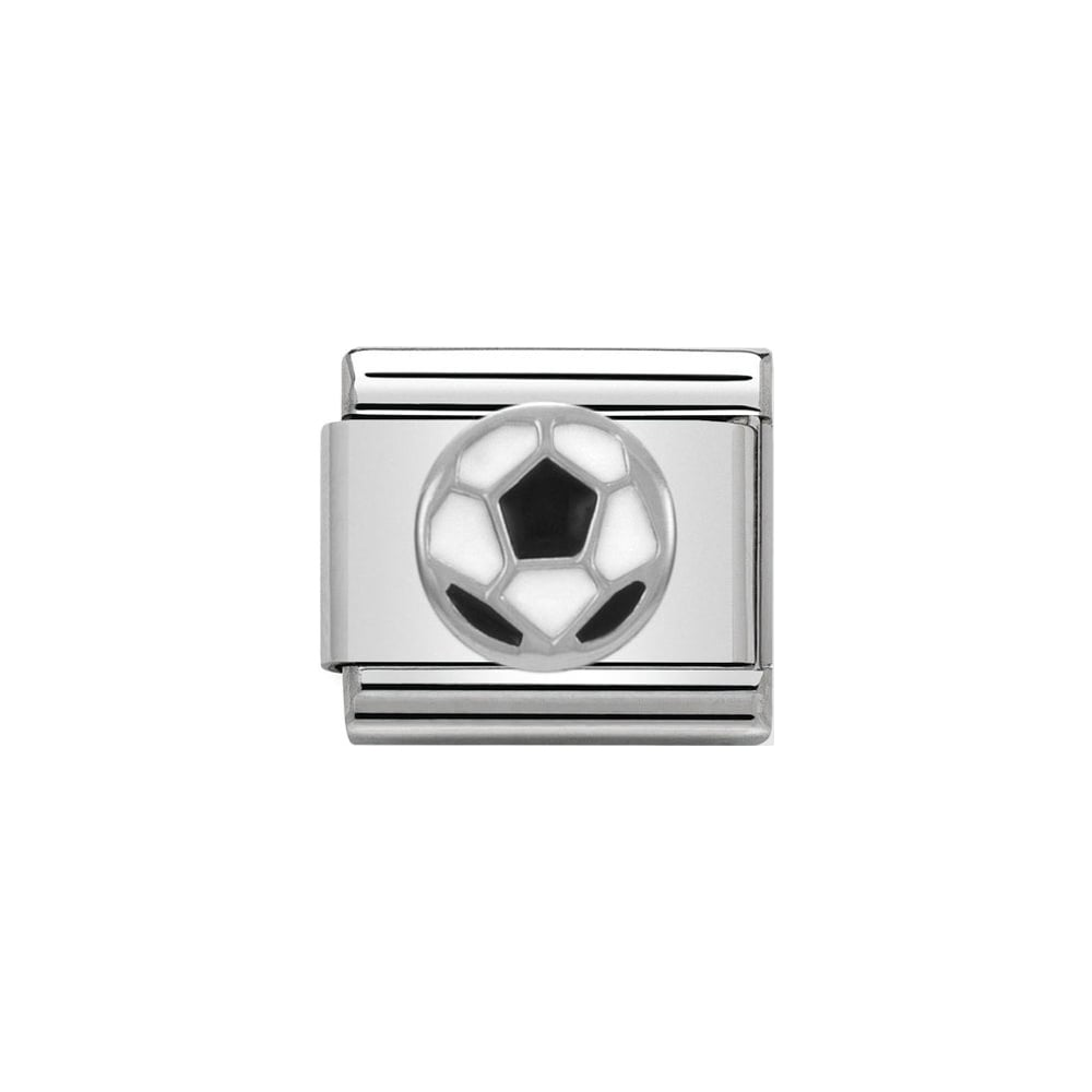 Nomination Classic Silver White & Black Football Charm - S&S Argento
