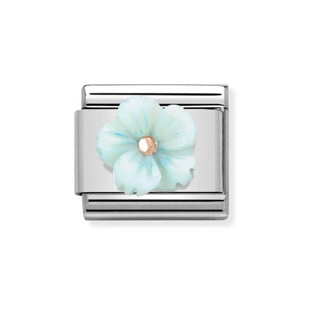 Nomination Classic Rose Gold 3D Turquoise Flower Charm - S&S Argento