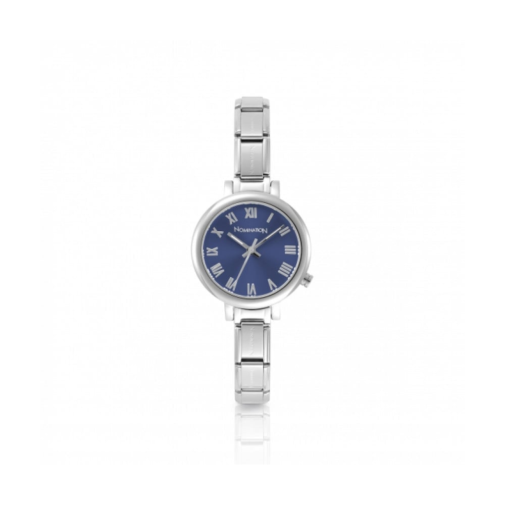 Nomination Paris Silver Classic Composable Round Watch With Blue Dial