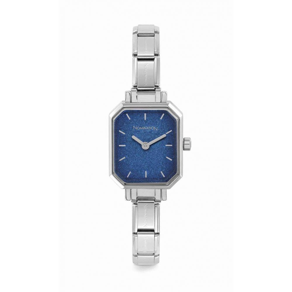 Nomination Paris Silver Composable Rectangular Watch with Blue Glittery Dial
