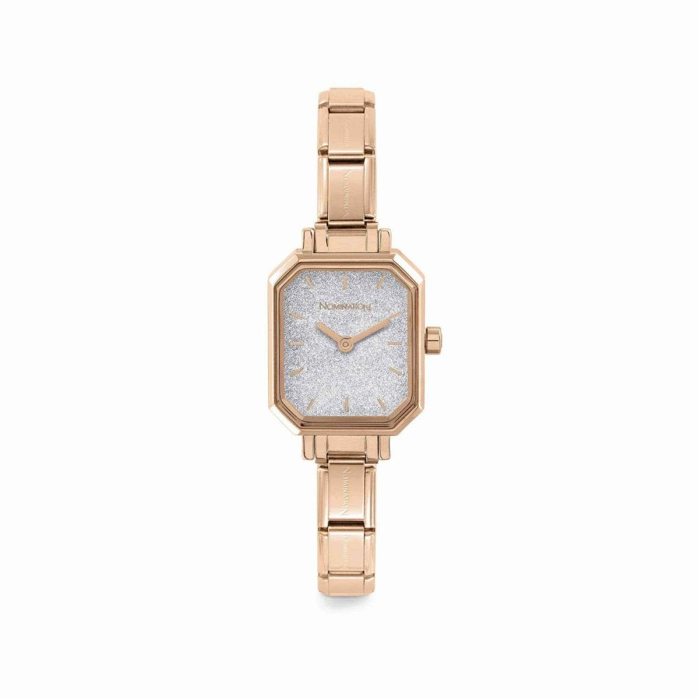 Nomination Paris Rose Gold Composable Rectangular Watch With Glittery Dial - S&S Argento