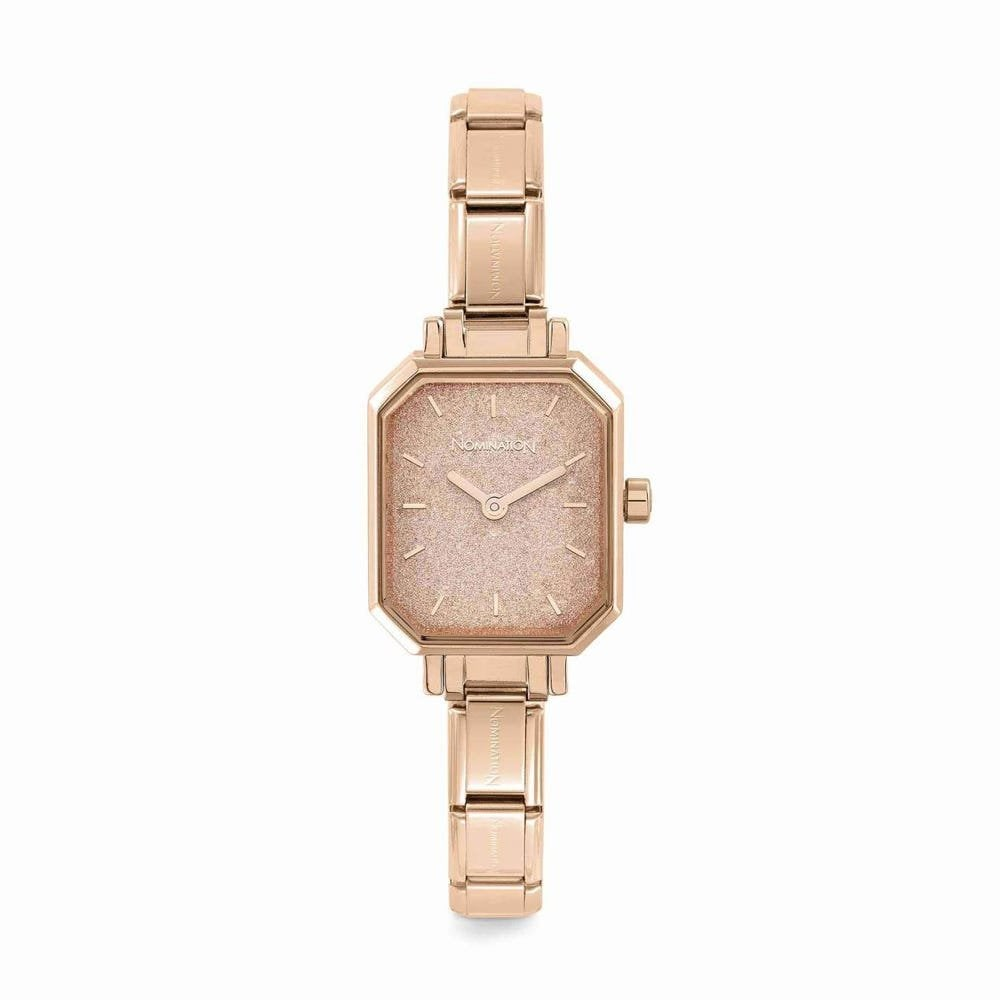 Nomination Paris Rose Gold Composable Rectangular Watch With Pink Glittery Dial - S&S Argento