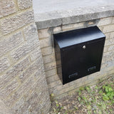 built in post box with collection box rear