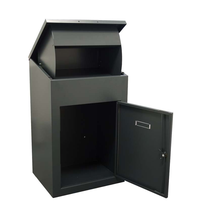 Delta Extra Large Parcel Box for wall mounting in Dark Grey - Doors open