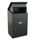 Delta Extra Large Parcel Box for wall mounting in dark grey view of parcel chute opening