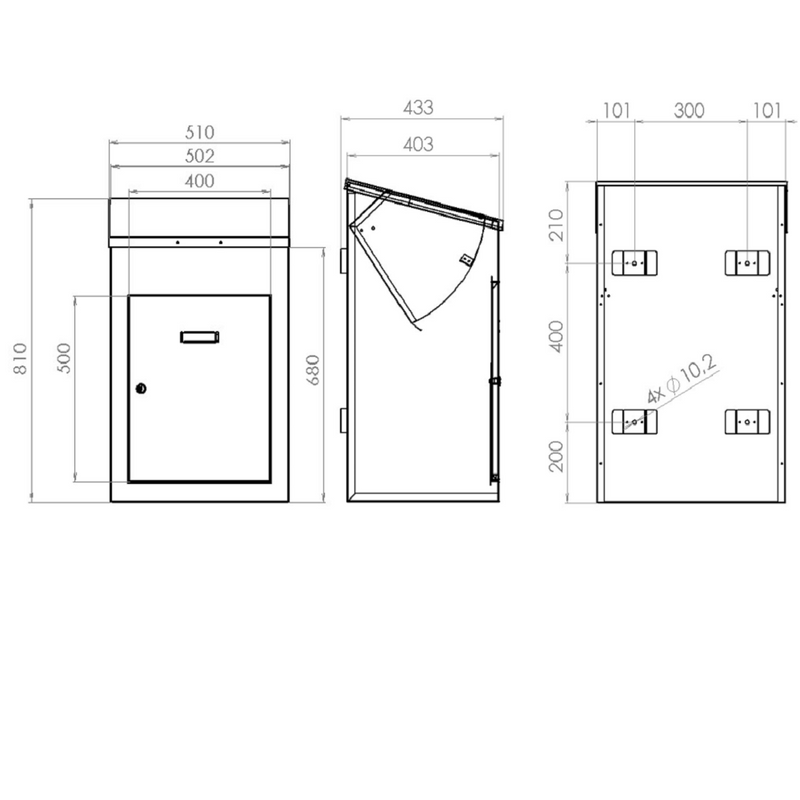Delta Extra large parcel box drawings with dimensions