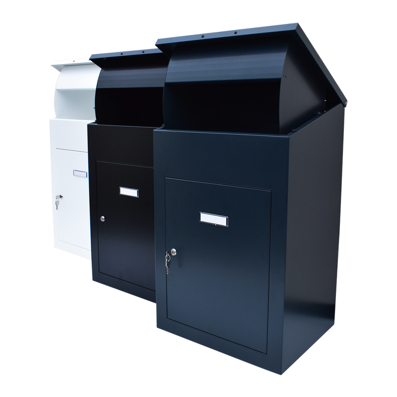 Delta XL parcel drop box with all 3 variations shown Black, dark grey and white