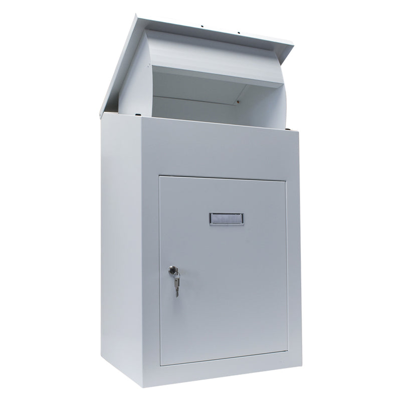 Delta XL Wall mounted parcel drop box in white with lid open