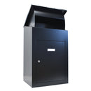 Delta XL Wall mounted parcel drop box in black with lid open
