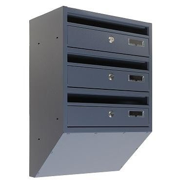 E1S narrow wall mounted communal letterboxes dark grey RAL 7015