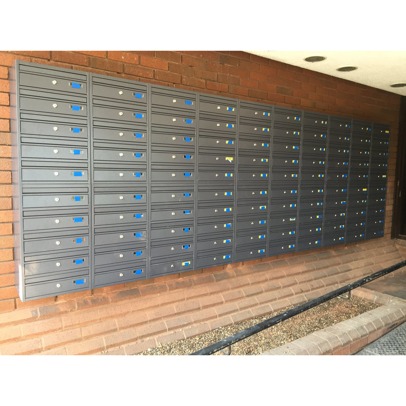 E1 dark grey RAL 7015 wall mounted communal letterboxes