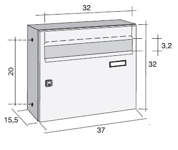 Giove external letterbox dimensions diagram
