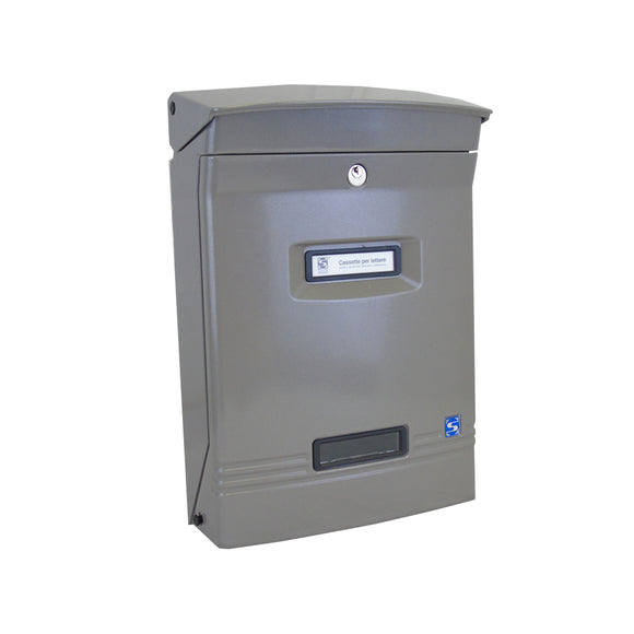 Grey Aluminium Post Box Contemporary External Wall Mounted