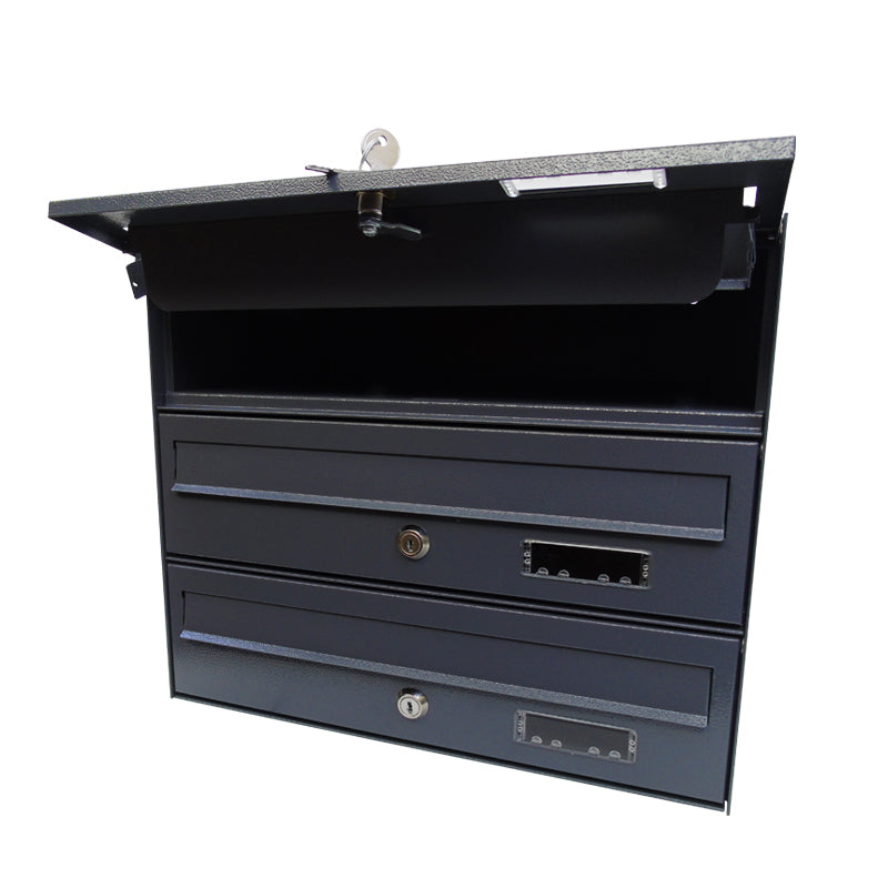 MTZ wall mounted communal letterboxes Dark Grey RAL 7015