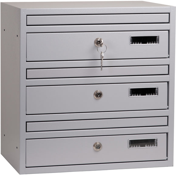 E1 light grey RAL 7040 wall mounted communal letterboxes