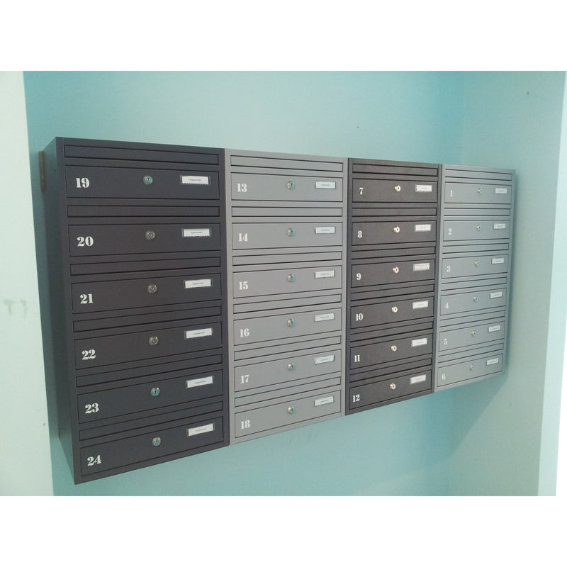 E1 white wall mounted communal letterboxes