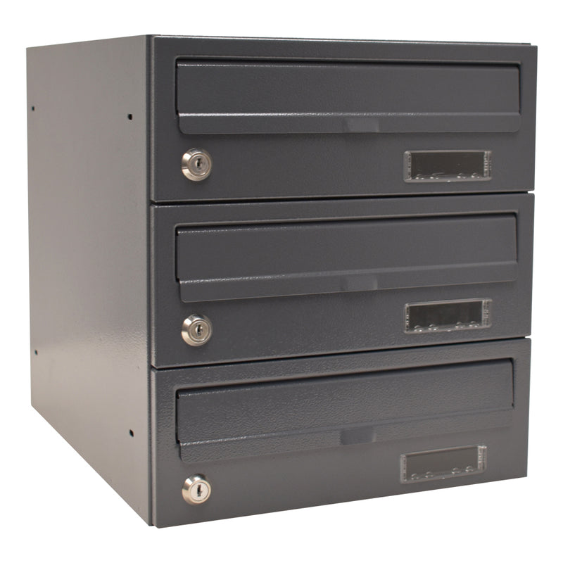 E2 wall mounted communal letterboxes dark grey RAL 7015
