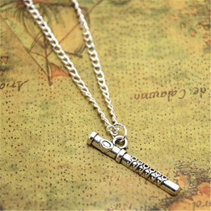 12pcs/lot Flute necklace Flute Charm pendant Flute Jewelry Music Teacher Gift, Flutist Gift, Instrumental