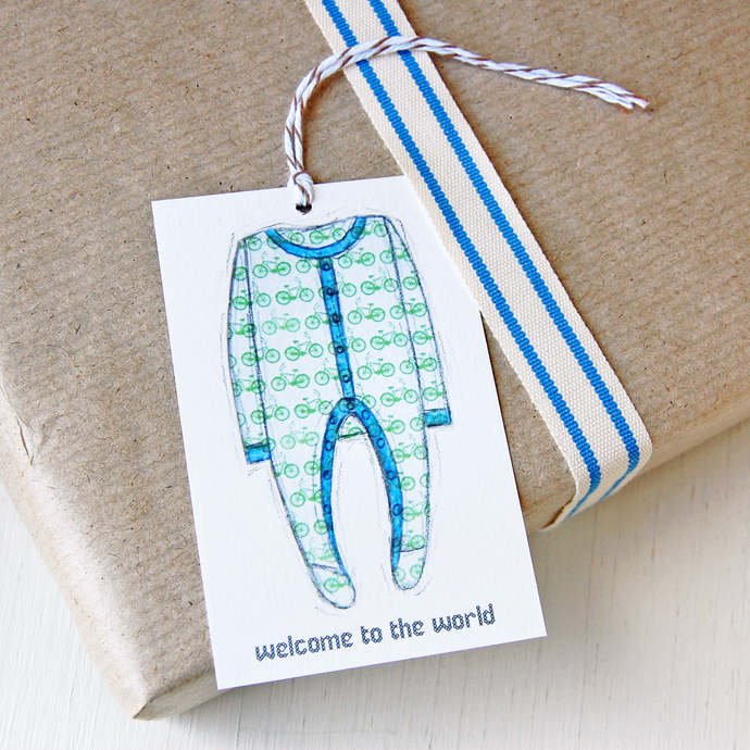 GT-NB-01 / New Baby Gift Tag / Blues & Greens