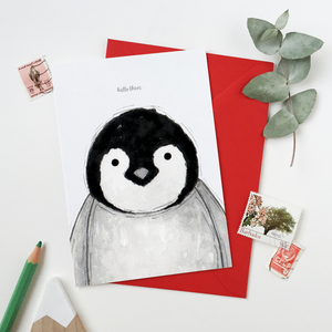 CA6-G-08 / Hello There Baby Penguin Card
