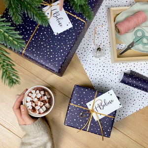WP-FL-25 / 'I Believe' Christmas Stars Navy Wrapping Paper Set