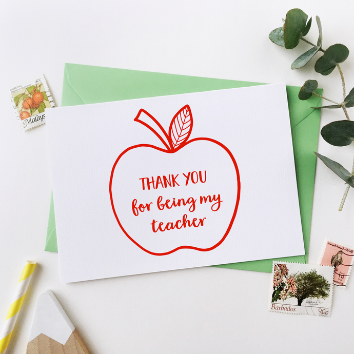 CA6-T-02 / Apple For The Teacher Card / Red